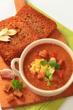 Goulash soup and fried bread Stock Photo