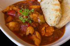 Goulash Soup Homemade. Stew With Fresh Toasted Bread. Goulash Tr. Aditional Hungarian Meal Stock Photo