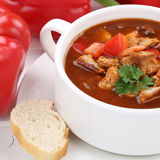 Goulash soup with meat and paprika in cup closeup healthy eating Stock Images