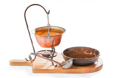 Goulash soup in a pot with ladle and plate Stock Photos