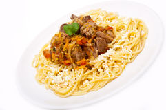 Goulash with sphagetti Royalty Free Stock Image