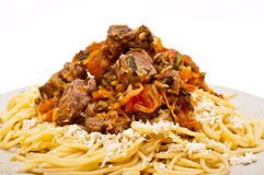 Goulash with sphagetti Stock Photography