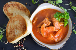 Goulash stew with toasted bread dumplings Royalty Free Stock Photography