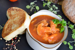 Goulash stew with toasted bread dumplings Royalty Free Stock Image
