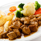 Goulash and vegetables Royalty Free Stock Photo