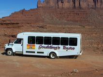 Gouldings Tours. Tour bus from Gouldings Trading Post, Monument Valley Royalty Free Stock Images