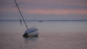 Gounded Sailboat Right After Sunset St. Josephs Bay Royalty Free Stock Photo