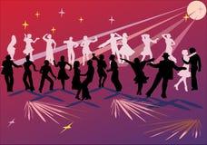 Goup dos dançarinos no vermelho Fotos de Stock