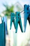 Goupille bleue sur la corde Images libres de droits