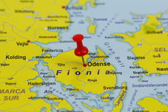 Goupille d'Odense dans une carte Images stock