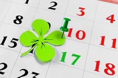 Goupille de calendrier de jour de patricks de St en mars Copiez l'espace Photo libre de droits