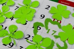 Goupille de calendrier de jour de patricks de St en mars Copiez l'espace Images libres de droits