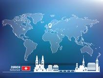 Goupille de carte avec l'horizon de Zurich