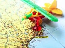 Goupille de carte d'avion de Rio de Janeiro Photographie stock libre de droits