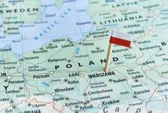Goupille de drapeau de carte de la Pologne Photographie stock libre de droits