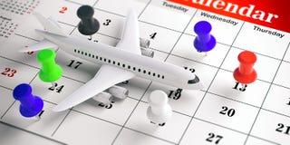 Goupilles blanches et colorées d'avion de poussée, sur un fond de calendrier illustration 3D illustration stock