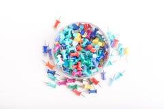 goupilles colorées de poussée réglées Photographie stock libre de droits