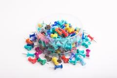 goupilles colorées de poussée réglées Images libres de droits