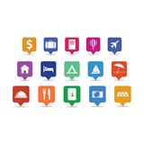 Goupilles d'icône de voyage réglées Image libre de droits