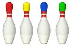 Goupilles de bowling colorées Image stock