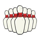 goupilles de bowling de bande dessinée Images stock