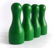 Goupilles de bowling en bois vertes Photo libre de droits