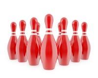 Goupilles de bowling rouges avec les rayures blanches illustration de vecteur
