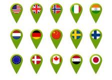 Goupilles de drapeau de carte du monde Image stock