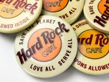 Goupilles de Hard Rock Cafe de vintage Photos stock