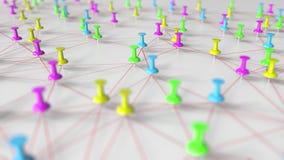 Goupilles et modèle de réseau multicolores de fil sur un tableau d'affichage, rendu 3D en gros plan Photo stock