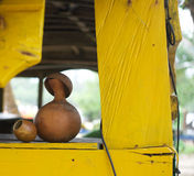 A gourd of African Palm Wine. At a resort Royalty Free Stock Photography