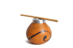 Gourd with bamboo straw. For mate drinking royalty free stock photo