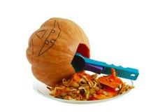 gourd halloween выдалбливая фонарик o jack вне Стоковое Изображение RF