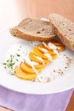 Gourd with yogurt sauce and sliced bread Stock Photos