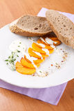 Gourd with yogurt sauce and sliced bread Royalty Free Stock Photo