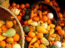 Gourds. Baskets of gourds at a market Royalty Free Stock Photos