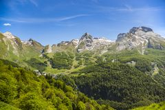Gourette in the French Pyrenees. Gourette is a winter sports resort in the French Pyrenees Stock Image