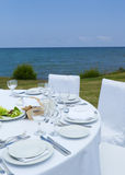 Gourme lunch on the sea shore Stock Photos
