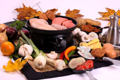Gourmet al la Dutch. Dutch gourmet is a typicall Dutch way to prepare food ingredients at the dinnertable Stock Photos