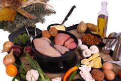 Gourmet al la Dutch. Dutch gourmet is a typicall Dutch way to prepare food ingredients at the dinnertable Royalty Free Stock Photo