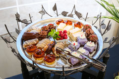 gourmet appetizers cakes sweets Stock Photo