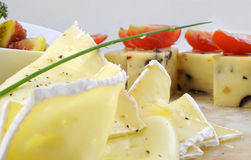 Gourmet appetizers. With two cheese, figs, cherry tomatoes and chive Royalty Free Stock Photo