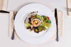 Gourmet Appetizing Fish and Shrimp Meat Dish Royalty Free Stock Photography