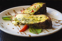 Gourmet asparagus and pepper fritatta Royalty Free Stock Photography