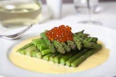 Gourmet Asparagus & Salmon Roe Appetizer Stock Photography