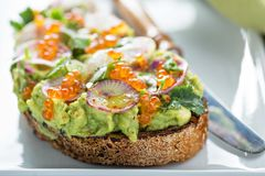 Gourmet avocado toast with caviar and radishes Royalty Free Stock Photo