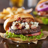 Gourmet bacon and bleu cheese burger Royalty Free Stock Image