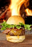 Gourmet bacon cheeseburger with lettuce and tomato Stock Images