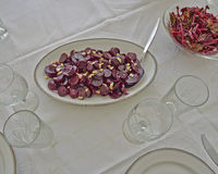 Gourmet beetroot salad with garlic Royalty Free Stock Images