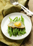 Gourmet breakfast - asparagus with  egg Stock Image